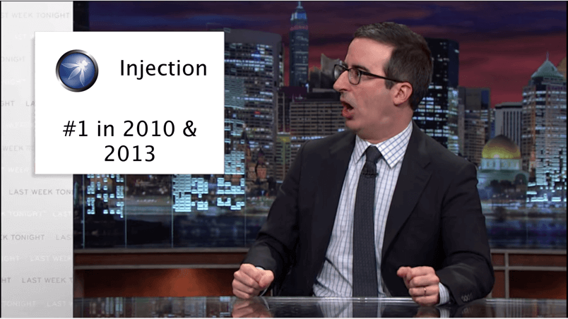 John Oliver yelling at an image that reads: Injection #1 in 2010 and 2013