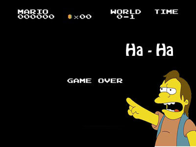 Nelson from the simpsons laughing at a Game Over screen